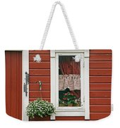 Red Wooden House With Plants In And By Weekender Tote Bag
