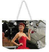 Redhead Pin-up Girl In 1940s Style Weekender Tote Bag by Christian Kieffer