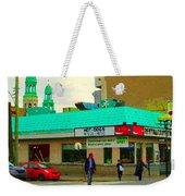 Rediscover Your Greenspot Notre Dame St Henri Dogs Et Frites Urban Food City Scenes Carole Spandau  Weekender Tote Bag