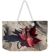 Reds And Purples - Deep Red Maple Leaf And Its Shadow Weekender Tote Bag