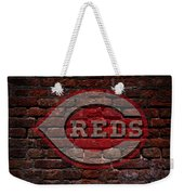 Reds Baseball Graffiti On Brick  Weekender Tote Bag