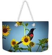 Redwing In Sunflowers Weekender Tote Bag