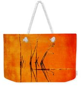Reeds And Reflection In Orange Weekender Tote Bag