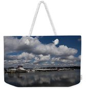 Reflecting On Boats And Clouds - Port Perry Marina Weekender Tote Bag