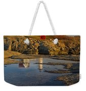 Reflecting On Nubble Lighthouse Weekender Tote Bag by Susan Candelario