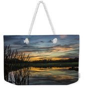 Reflection At Sunset With Cattails Weekender Tote Bag
