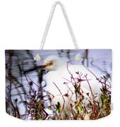 Reflection Of A Snowy Egret Weekender Tote Bag
