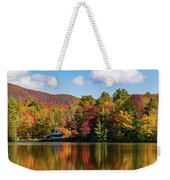 Reflection Of Autumn Trees In A Pond Weekender Tote Bag