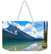 Reflection Of Glaciers And Clouds In Emerald Lake In Yoho National Park-british Columbia-canada Weekender Tote Bag