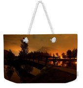 Reflection Of Mountains In Lake, Sunrise Weekender Tote Bag