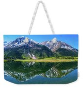 Reflection Of Mountains In Tern Lake Weekender Tote Bag