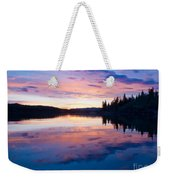 Reflection Of Sunset Sky On Calm Surface Of Pond Weekender Tote Bag