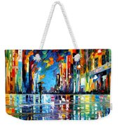 Reflections Of The Blue Rain - Palette Knife Oil Painting On Canvas By Leonid Afremov Weekender Tote Bag