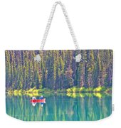 Reflective Fishing On Emerald Lake In Yoho National Park-british Columbia-canada  Weekender Tote Bag