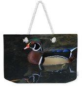 Reflective Wood Duck Weekender Tote Bag by Deborah Benoit