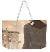 Regency Period Woman With Mansion In Background Weekender Tote Bag