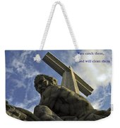 Religious Sculpture And Words Weekender Tote Bag