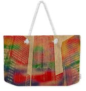 Renaissance Center Iconic Buildings Of Detroit Watercolor On Worn Canvas Series Number 2 Weekender Tote Bag