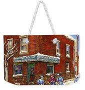 Restaurant Epicerie Jean Guy Pointe St. Charles Montreal Art Verdun Winter Scenes Hockey Paintings   Weekender Tote Bag