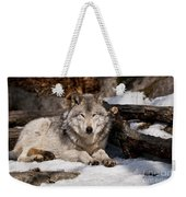 Resting Timber Wolf Weekender Tote Bag