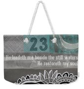 Restoreth My Soul- Contemporary Christian Art Weekender Tote Bag by Linda Woods
