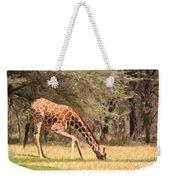 Reticulated Giraffe Drinking At Waterhole Kenya Weekender Tote Bag