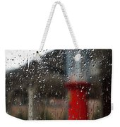 Retro Gas Pump On A Rainy Day Weekender Tote Bag