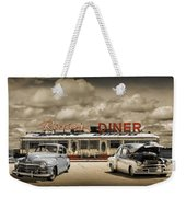 Retro Photo Of Historic Rosie's Diner With Vintage Automobiles Weekender Tote Bag