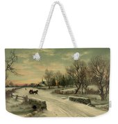 Retro Vintage Rural Winter Scene Weekender Tote Bag