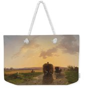 Return From The Field In The Evening Glow Weekender Tote Bag