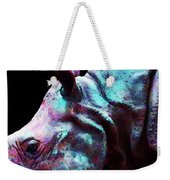 Rhino 1 - Rhinoceros Art Prints Weekender Tote Bag by Sharon Cummings
