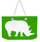 Rhino In Green And White Weekender Tote Bag