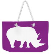 Rhino In Purple And White Weekender Tote Bag