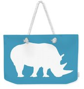 Rhino In White And Turquoise Blue Weekender Tote Bag
