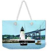 Rhode Island - Lighthouse Bridge And Boats Newport Ri Weekender Tote Bag