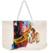 Rhode Island Map Art - Painted Map Of Rhode Island Weekender Tote Bag