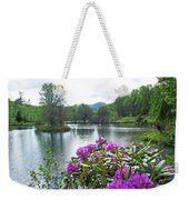 Rhododendron Blossoms And Mountain Pond Weekender Tote Bag