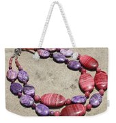 Rhodonite And Crazy Lace Agate Double Strand Chunky Necklace 3636 Weekender Tote Bag