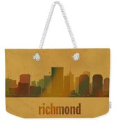 Richmond Virginia City Skyline Watercolor On Parchment Weekender Tote Bag