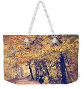 Riding A Bike In Autumn Weekender Tote Bag
