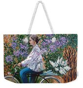 Riding Bycicle For Lilac Weekender Tote Bag