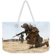Rifleman Kneels To The Ground While Weekender Tote Bag