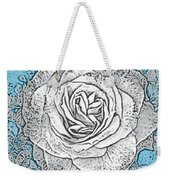 Ritzy Rose With Ink And Blue Background Weekender Tote Bag