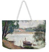 River Landscape With A Boat Weekender Tote Bag by Georges Pierre Seurat