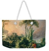 River Landscape With An Antique Temple Weekender Tote Bag