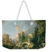 River Landscape With Ruin And Bridge Weekender Tote Bag