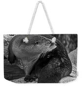 River Otter In Black And White Weekender Tote Bag