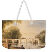 River Scene With Bridge Of Six Arches Weekender Tote Bag by Robert Hindmarsh Grundy