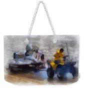 River Speed Boat White Photo Art Weekender Tote Bag