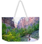 River Walk In Zion Canyon In Zion Np-ut Weekender Tote Bag